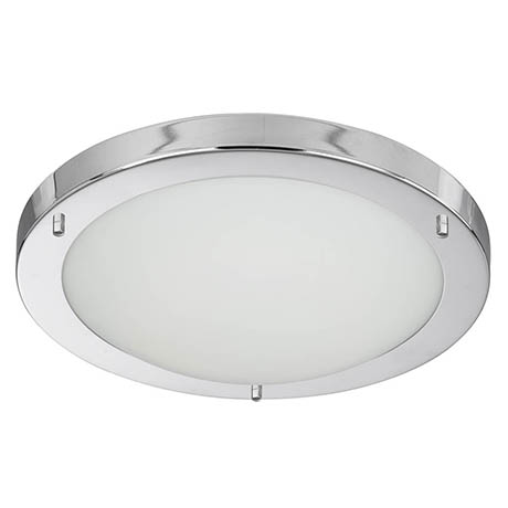 Searchlight IP44 Chrome Flush Fitting with Opal Glass Diffuser - 10633CC
