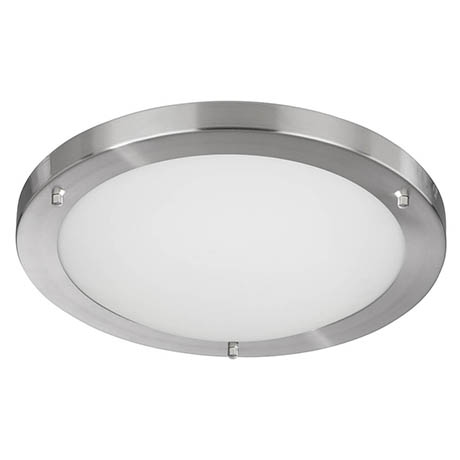 Searchlight IP44 Satin Silver Flush Fitting with Opal Glass Diffuser - 10633SS