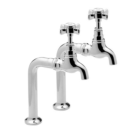 Tre Mercati Imperial Pair Bib Taps and Stands - Chrome - 1067 profile large image view 1