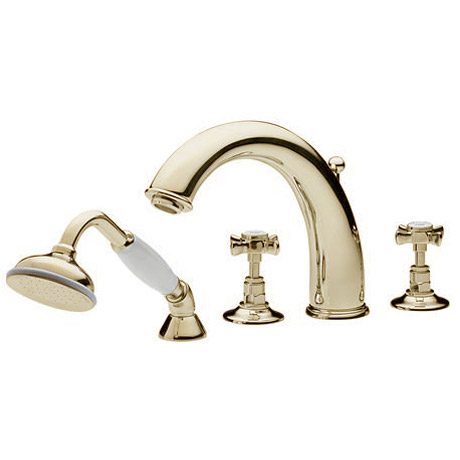 Tre Mercati - Imperial 4 Tap Hole Bath Shower Mixer Complete with Kit - Gold Large Image