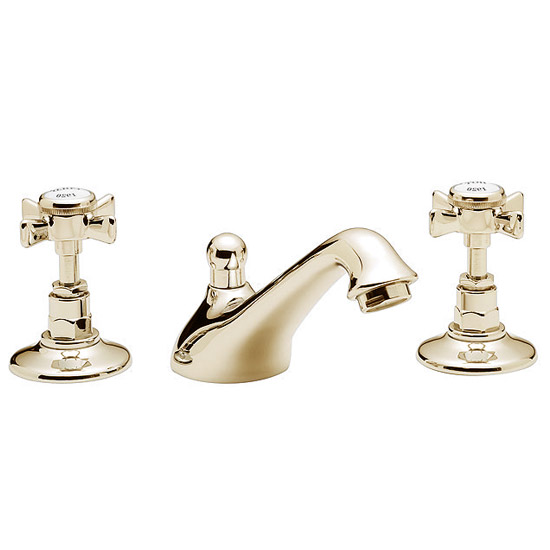 Tre Mercati - Imperial 3 Tap Hole Basin Mixer w/ Pop-up Waste - Antique Gold Large Image
