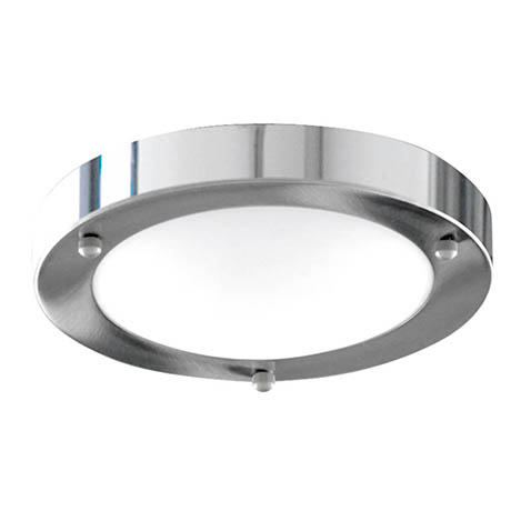 Searchlight IP44 Satin Silver Flush Fitting with Opal Glass Diffuser - 1131-31CC