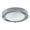 Searchlight IP44 Satin Silver Flush Fitting with Opal Glass Diffuser - 1131-31SS profile small image view 1