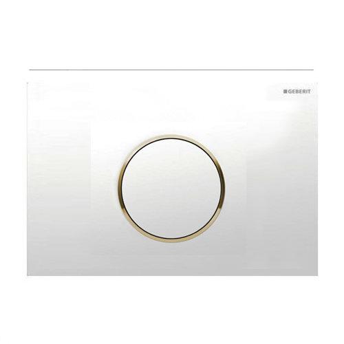 Geberit - Flush Plate for UP300 UP320 UP720 Cistern - Sigma10 - White/Gold Large Image