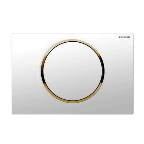 Geberit White + Gold Sigma 10 Flush Plate for UP320/UP720 Cistern - 115.758.KK.5