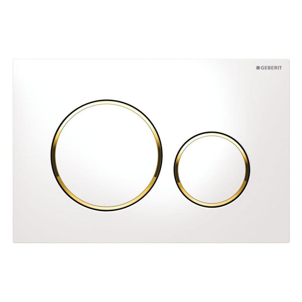 Geberit Sigma 20 White + Gold Flush Plate for UP320/UP720 Cistern - 15.882.KK.1