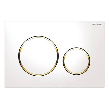 Geberit Sigma 20 White + Gold Flush Plate for UP320/UP720 Cistern - 15.882.KK.1