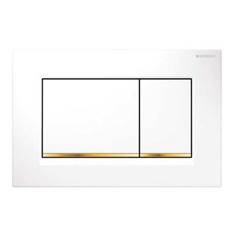 Geberit Sigma30 Dual Flush Plate - White/Gold - 115.883.KK.1