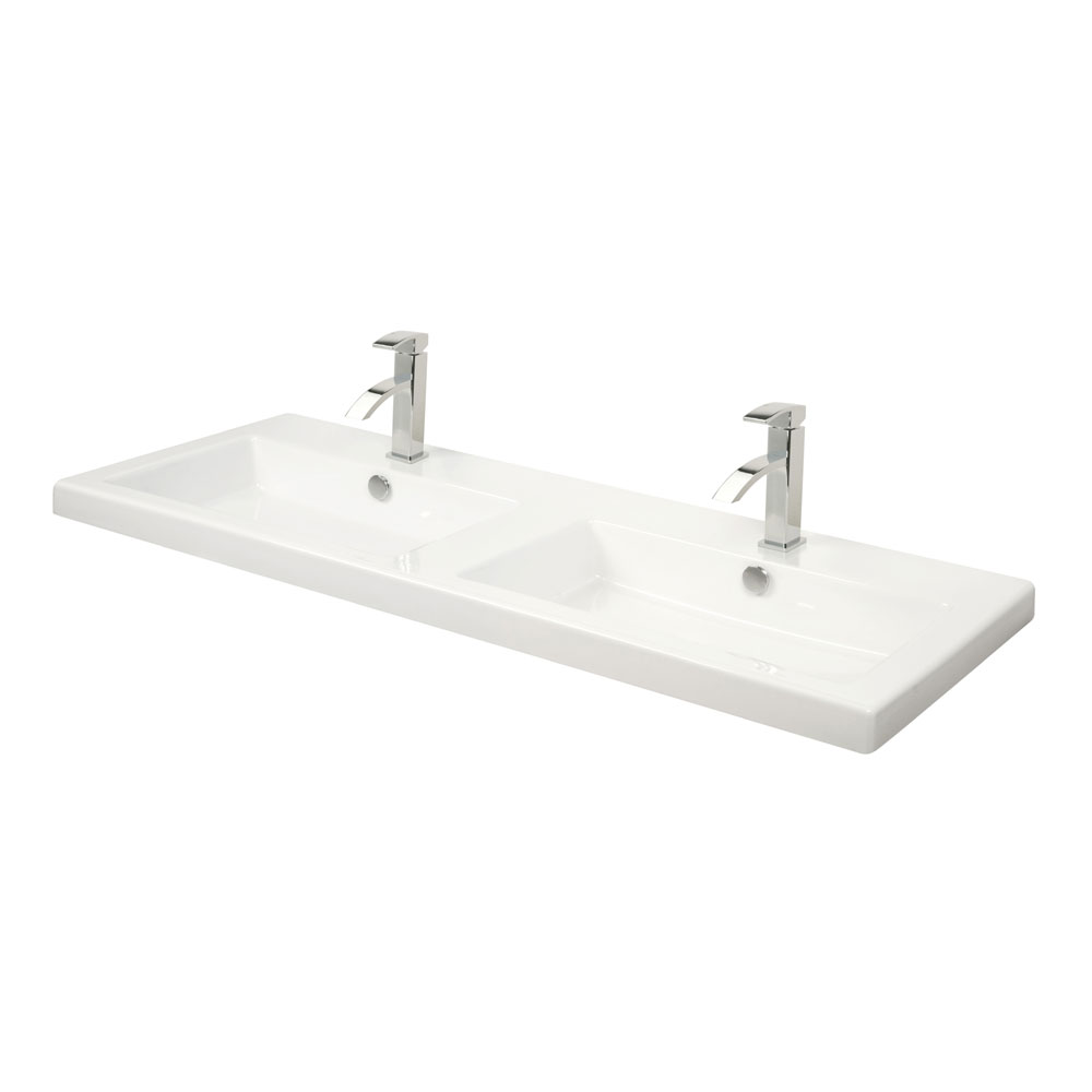 Miller - 1210mm Rectangular Bowl Double Ceramic Basin - 115W1 profile large image view 1