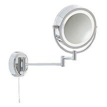 Searchlight IP44 Illuminated Chrome Bathroom Mirror with Adjustable Arm - 11824 Medium Image