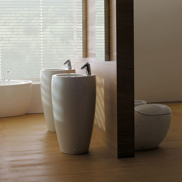 Laufen - Ilbagno Alessi One 1 Tap Hole 530mm Freestanding Basin with Integrated Pedestal - 11972 profile large image view 3
