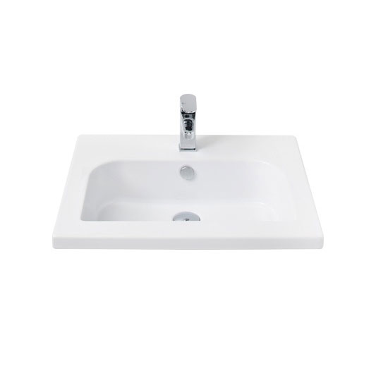 Miller - 610mm D-Shaped Bowl Ceramic Basin - 120W1 profile large image view 1