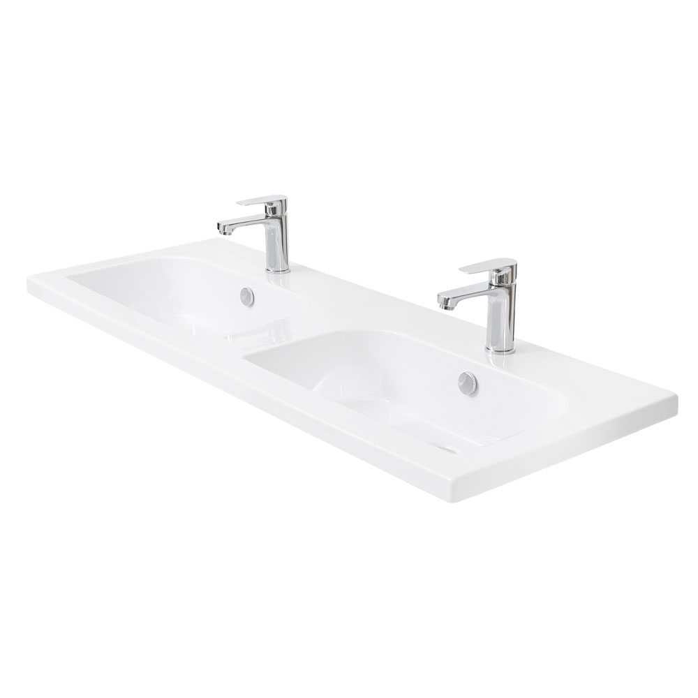 Miller - 1210mm D-Shaped Bowl Double Ceramic Basin - 123W1 profile large image view 1