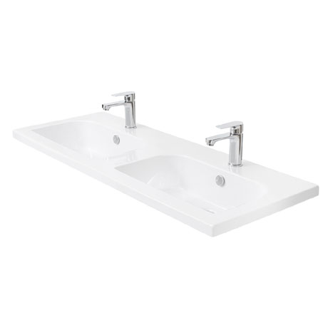 Miller - 1210mm D-Shaped Bowl Double Ceramic Basin - 123W1
