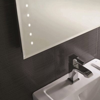 RAK - Ruebens LED Bevel Edged Mirror with Shaving Socket & Demister Pad - 700 x 500mm - 12SL18608 profile large image view 2