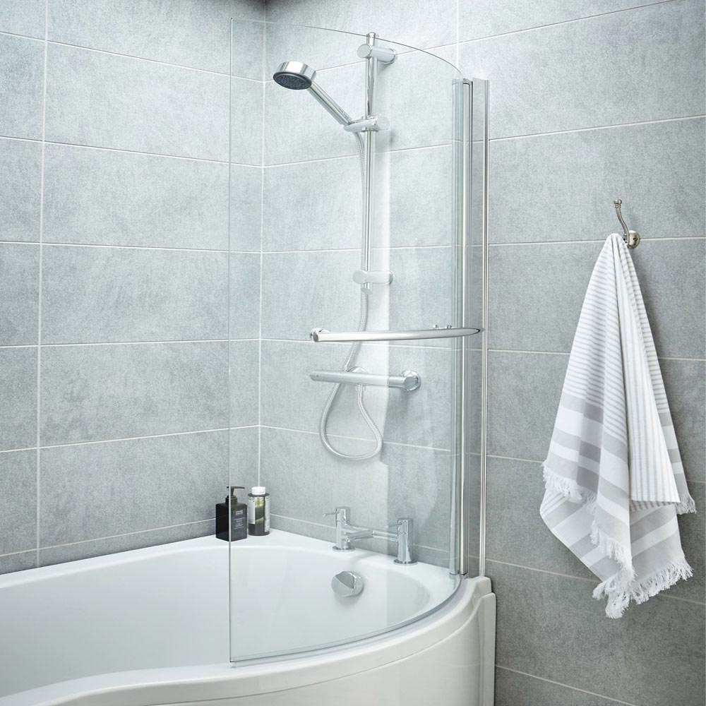 1400 Curved Shower Bath Screen profile large image view 3