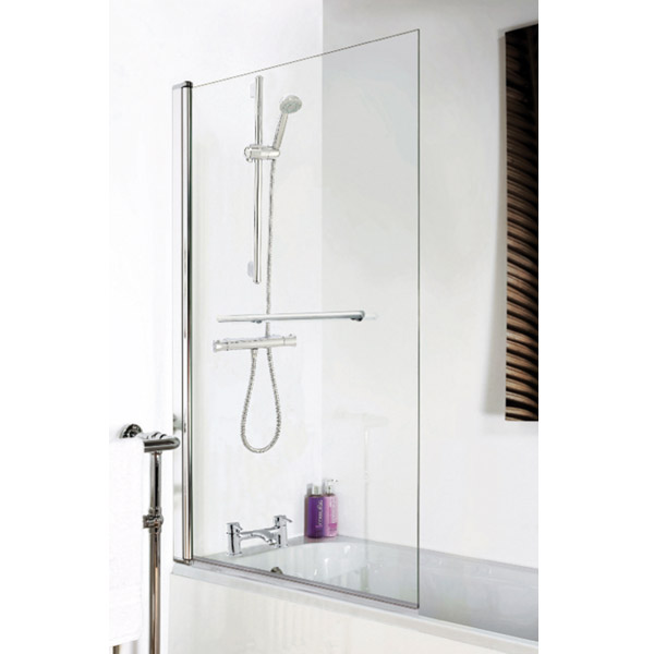 1400 Hinged Square Bath Screen + Rail profile large image view 2