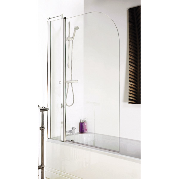 1400 Hinged Straight Curved Top Bath Screen + Fixed Panel NSS2 profile large image view 2