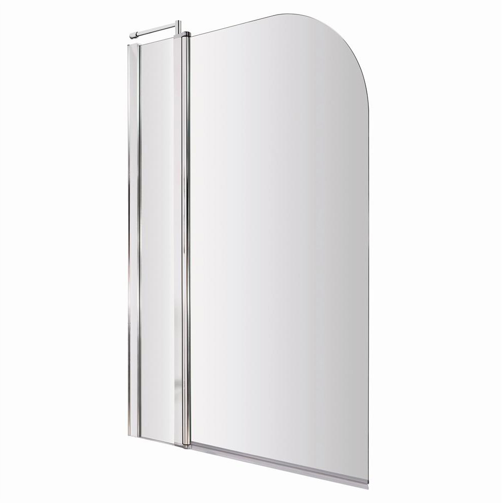 1400 Hinged Straight Curved Top Bath Screen + Fixed Panel - NSS2 Large Image