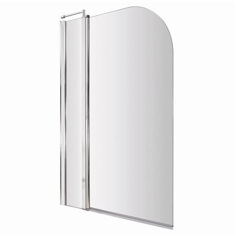 1400 Hinged Straight Curved Top Bath Screen + Fixed Panel - NSS2