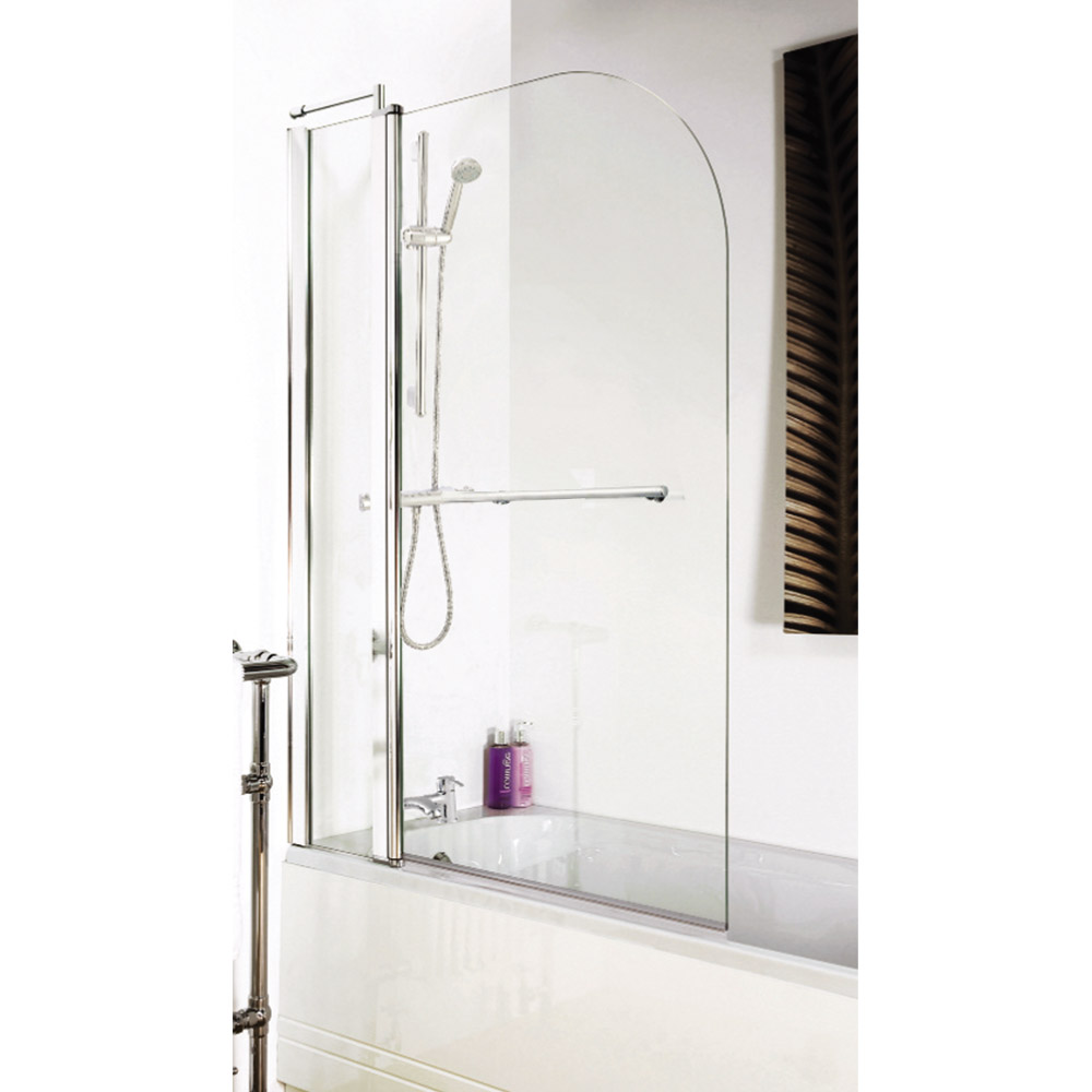 1400 Hinged Straight Curved Top Bath Screen Inc. Fixed Panel + Rail - NSSR2 Profile Large Image