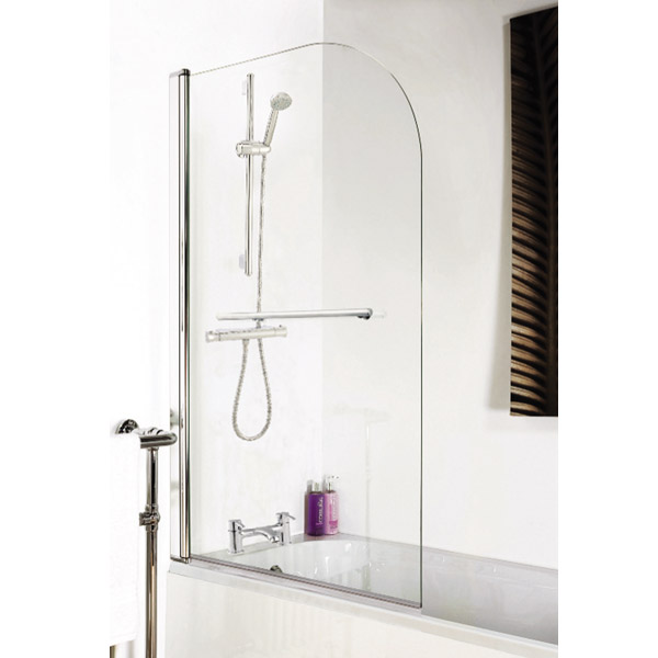 1400 Hinged Straight Curved Top Bath Screen + Rail profile large image view 2