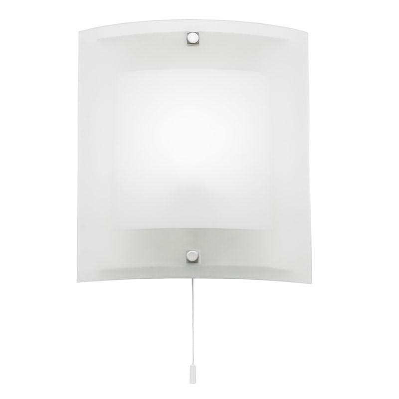 Endon - Blake Square Curved Glass Wall Light Fitting with Pull String- 143-WB Large Image