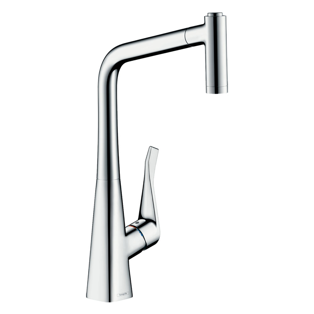 hansgrohe Metris M71 Single Lever Kitchen Mixer 320 with Pull Out Spray - Chrome - 14820000