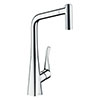 hansgrohe Metris M71 Single Lever Kitchen Mixer 320 with Pull Out Spray - Chrome - 14820000 profile small image view 1