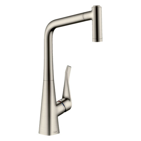 hansgrohe Metris M71 Single Lever Kitchen Mixer 320 with Pull Out Spray - Stainless Steel - 14820800