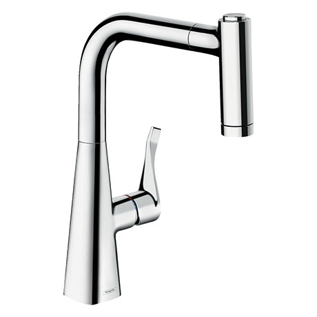 hansgrohe Metris M71 Single Lever Kitchen Mixer 220 with Pull Out Spray - Chrome - 14834000