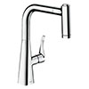 hansgrohe Metris M71 Single Lever Kitchen Mixer 220 with Pull Out Spray - Chrome - 14834000 profile small image view 1