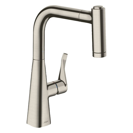 hansgrohe Metris M71 Single Lever Kitchen Mixer 220 with Pull Out Spray - Stainless Steel - 14834800