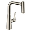 hansgrohe Metris M71 Single Lever Kitchen Mixer 220 with Pull Out Spray - Stainless Steel - 14834800 profile small image view 1