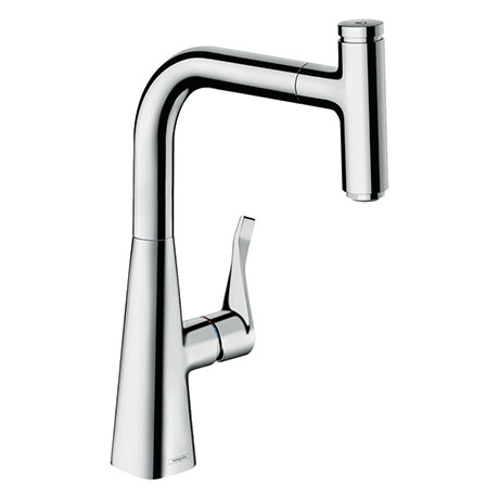 hansgrohe Metris Select M71 Single Lever Kitchen Mixer 240 with Pull-Out Spout - Chrome - 14857000