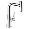 hansgrohe Metris Select M71 Single Lever Kitchen Mixer 240 with Pull-Out Spout - Chrome - 14857000 profile small image view 1