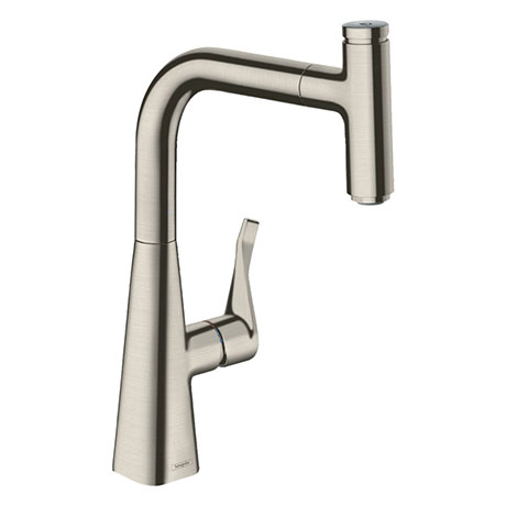 hansgrohe Metris Select M71 Single Lever Kitchen Mixer 240 with Pull-Out Spout - Stainless Steel - 1