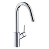 hansgrohe Talis M52 Single Lever Kitchen Mixer 260 with Collapsible Body and Pull-Out Spout - 14872000 profile small image view 1