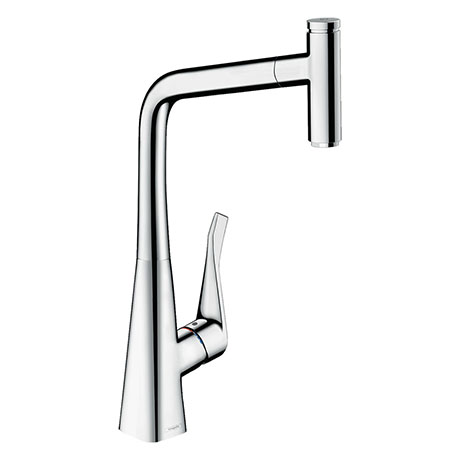 hansgrohe Metris Select M71 Single Lever Kitchen Mixer 320 with Pull-Out Spout - Chrome - 14884000