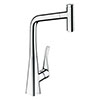 hansgrohe Metris Select M71 Single Lever Kitchen Mixer 320 with Pull-Out Spout - Chrome - 14884000 profile small image view 1
