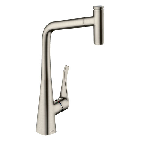 hansgrohe Metris Select M71 Single Lever Kitchen Mixer 320 with Pull-Out Spout - Stainless Steel - 1