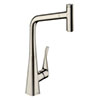 hansgrohe Metris Select M71 Single Lever Kitchen Mixer 320 with Pull-Out Spout - Stainless Steel - 14884800 profile small image view 1