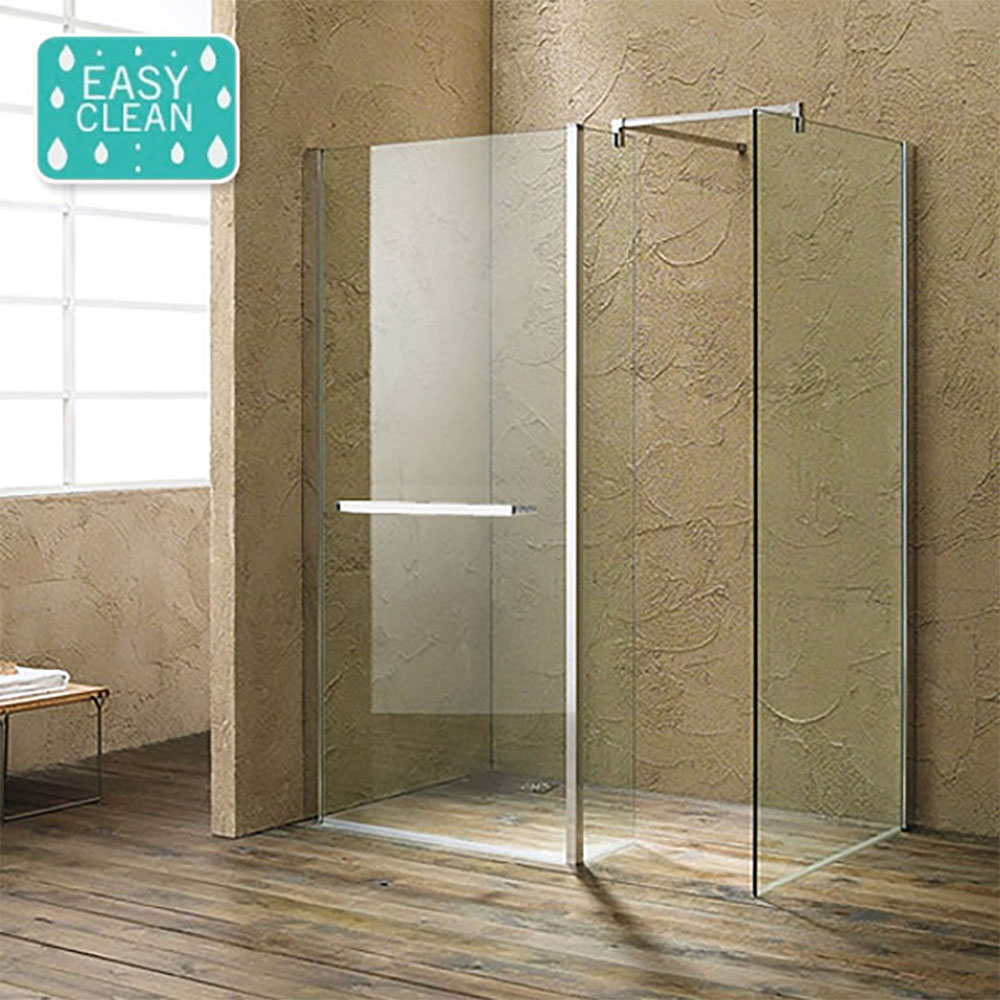 The Matrix 1400 x 800mm Ultimate Walk In Enclosure + Side Panel Only 10mm (No Tray) - great for minimalist wet room ideas.