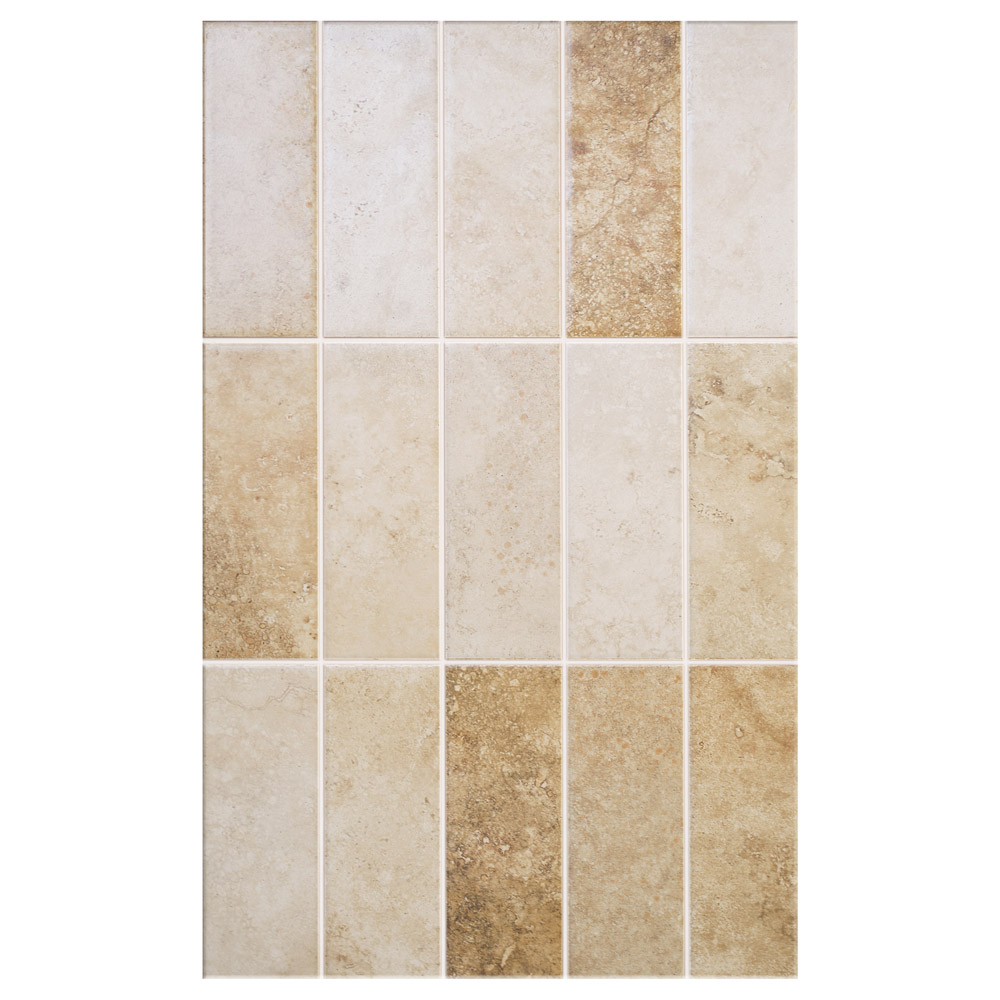 Salerno Mixed Travertine Effect Wall Tiles - 250mm x 400mm Large Image