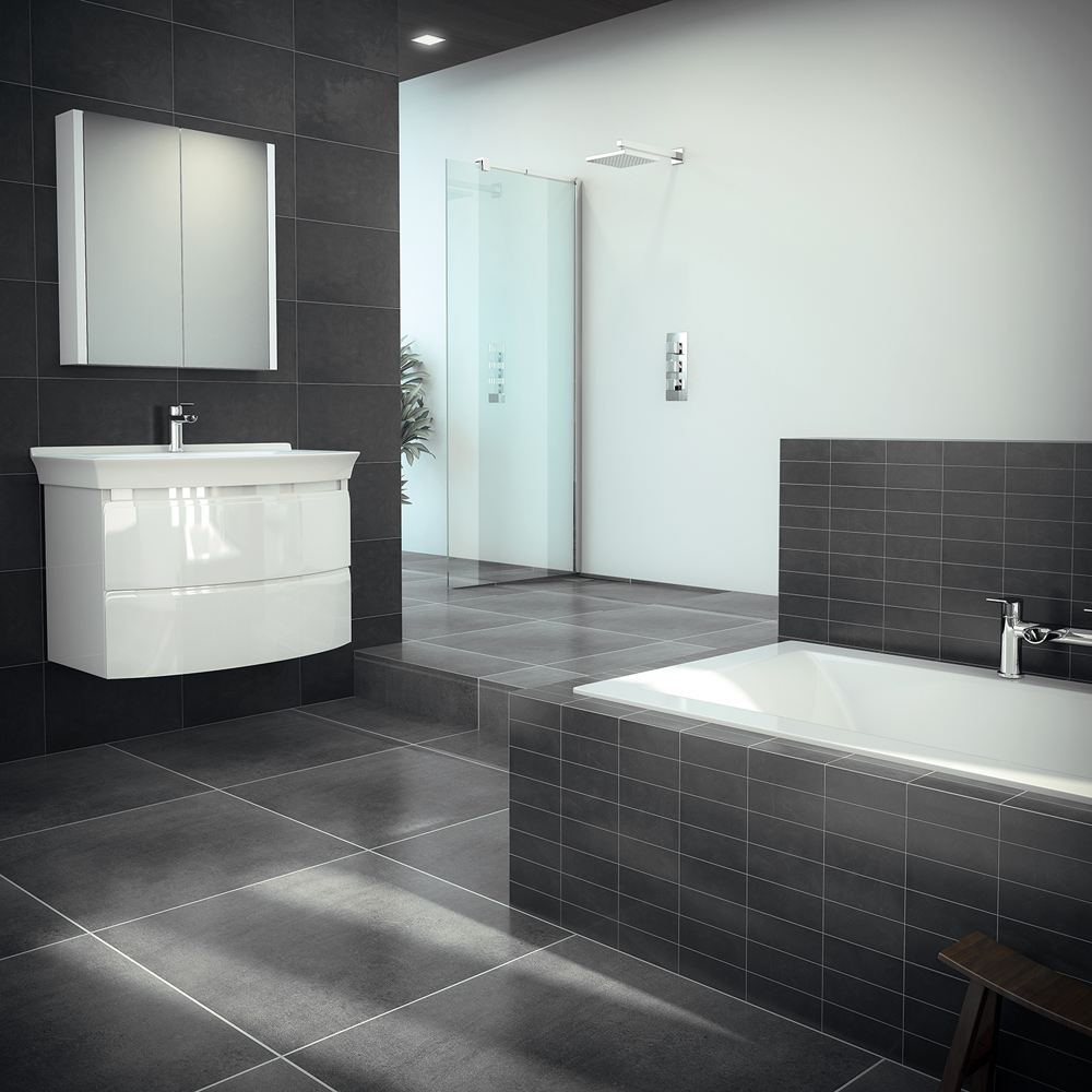 15 Taranto Matt Black Pre Cut Wall Tiles | Victorian Plumbing.co.uk