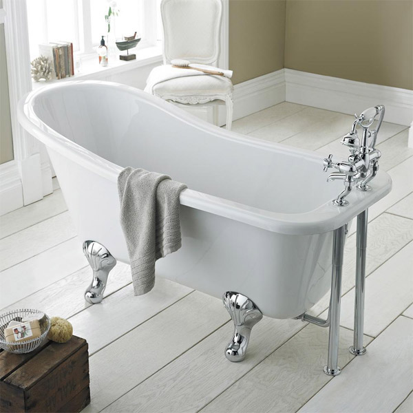 Premier Kensington 1500 Small Roll Top Slipper Bath Inc. Chrome Legs Large Image