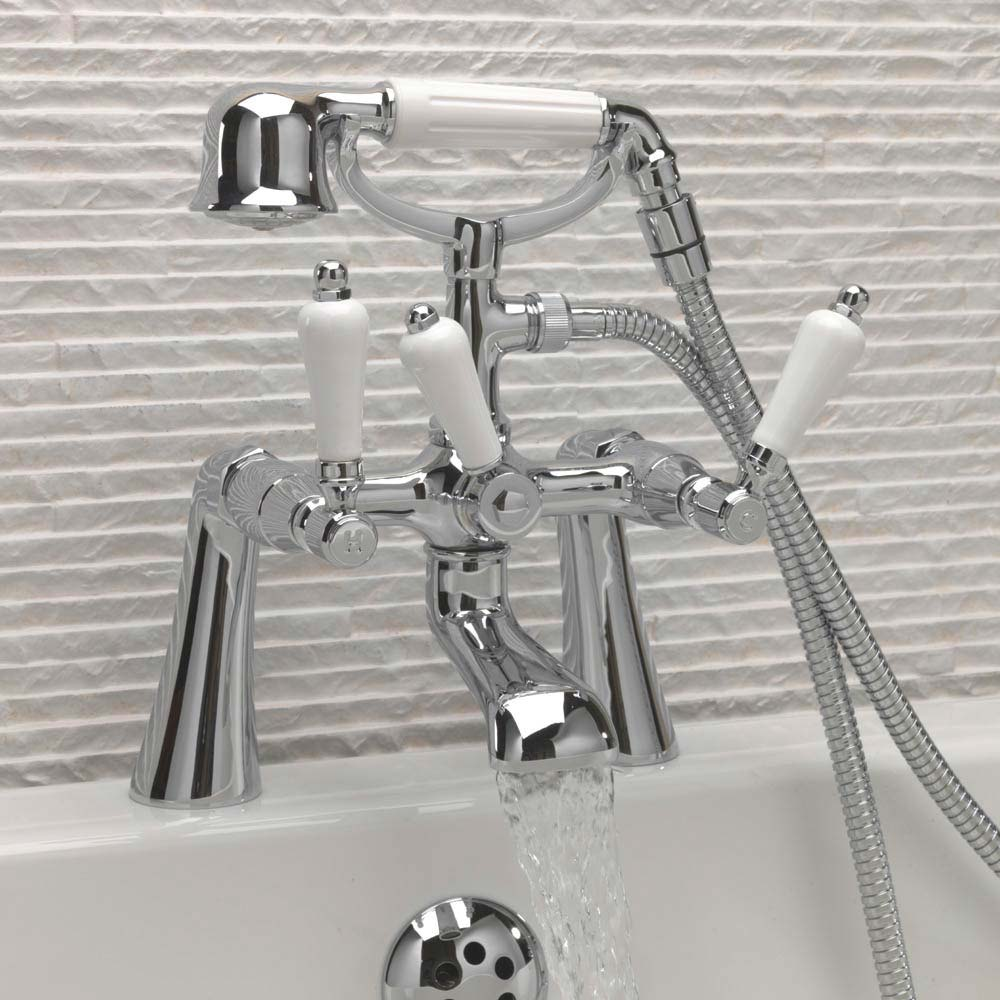 Tre Mercati Victoria Bianco Pillar Bath Shower Mixer with Kit - Chrome profile large image view 2