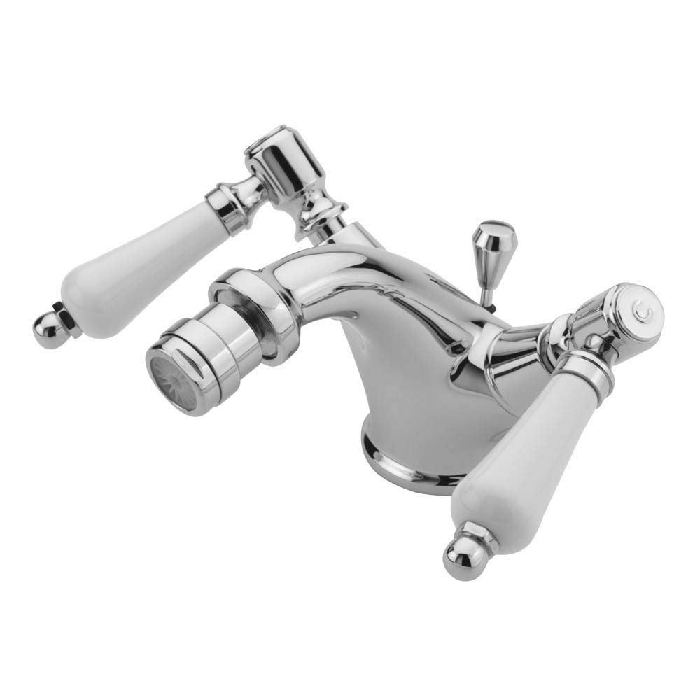 Tre Mercati Victoria Bianco Mono Bidet Mixer with Pop-up Waste - Chrome Large Image