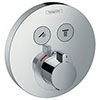 hansgrohe ShowerSelect S Thermostatic Mixer for Concealed Installation for 2 Outlets - Chrome - 15743000 profile small image view 1