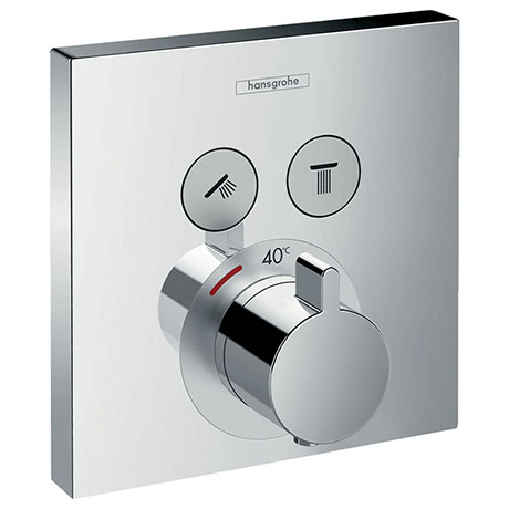 hansgrohe ShowerSelect Thermostatic Mixer for Concealed Installation for 2 Outlets - Chrome - 157630